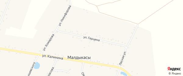 Переулок Калинина на карте деревни Малдыкас с номерами домов