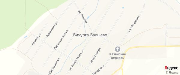 Карта села Бичурга-Баишево в Чувашии с улицами и номерами домов