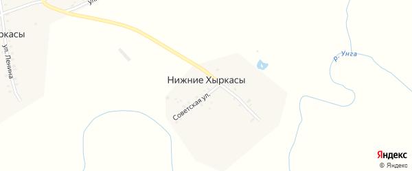Советская улица на карте деревни Нижние Хыркасы с номерами домов