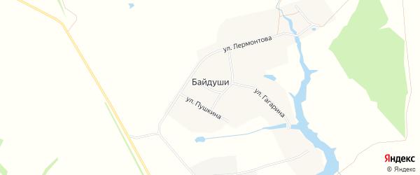 Карта деревни Байдуши в Чувашии с улицами и номерами домов