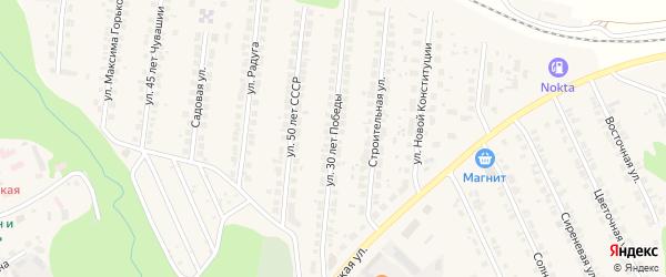 Улица 30 лет Победы на карте поселка Кугеси с номерами домов