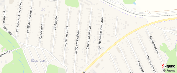 Строительная улица на карте поселка Кугеси с номерами домов