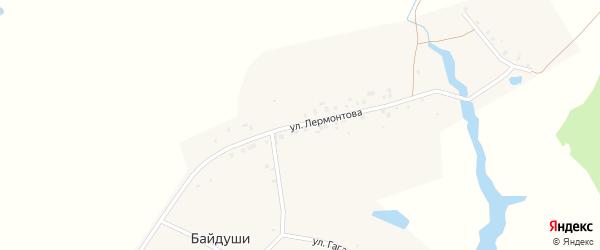 Улица Лермонтова на карте деревни Байдуши с номерами домов
