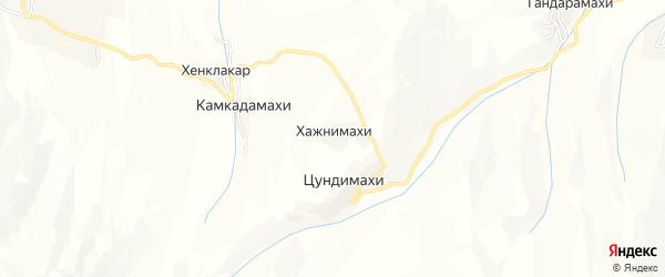 Карта хутора Хажнимахи в Дагестане с улицами и номерами домов