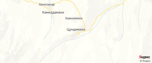 Карта хутора Цундимахи в Дагестане с улицами и номерами домов