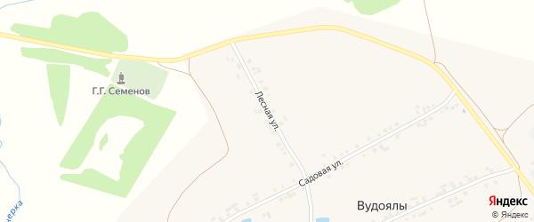 Лесная улица на карте деревни Вудоялы с номерами домов