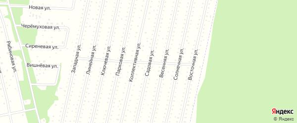 Садовая улица на карте садового некоммерческого товарищества Садоводы Севера сад N6 Колос N2 с номерами домов
