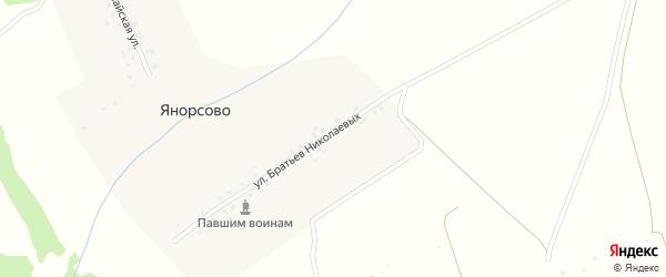 Улица Братьев Николаевых на карте деревни Янорсово с номерами домов