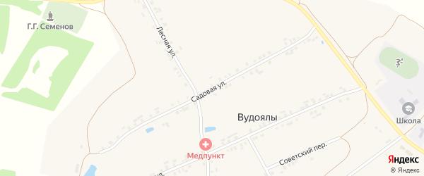 Садовая улица на карте деревни Вудоялы с номерами домов