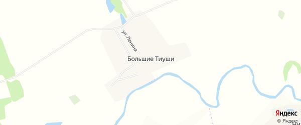Карта деревни Большие Тиуши в Чувашии с улицами и номерами домов