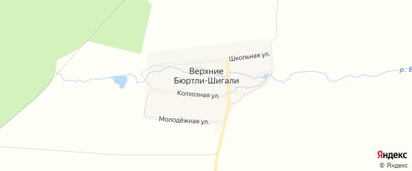 Карта деревни Верхние Бюртли-Шигали в Чувашии с улицами и номерами домов