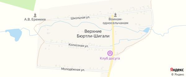 Школьная улица на карте деревни Верхние Бюртли-Шигали с номерами домов