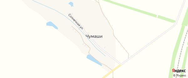 Солнечная улица на карте деревни Чумашей с номерами домов