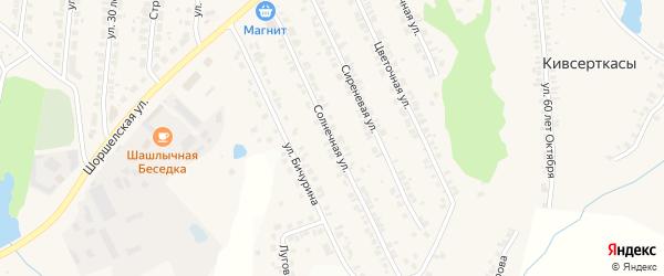 Солнечная улица на карте поселка Кугеси с номерами домов