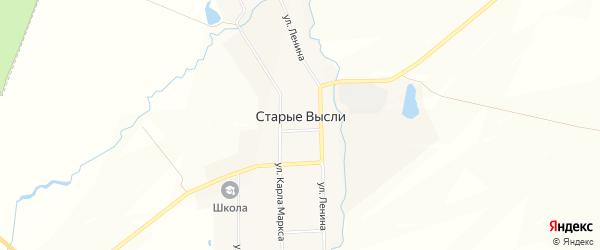 Карта деревни Старые Высли в Чувашии с улицами и номерами домов