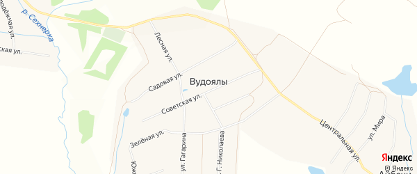 Карта деревни Вудоялы в Чувашии с улицами и номерами домов