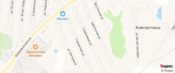 Сиреневая улица на карте поселка Кугеси с номерами домов