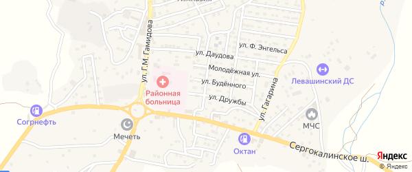 Молодежная улица на карте села Левашей с номерами домов