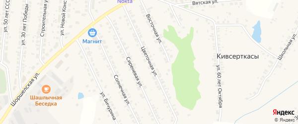 Цветочная улица на карте поселка Кугеси с номерами домов