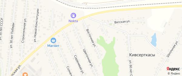 Восточная улица на карте поселка Кугеси с номерами домов