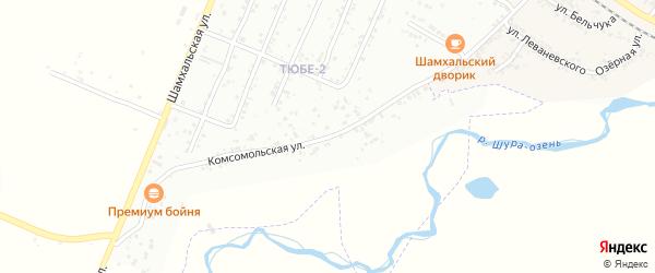 Комсомольская улица на карте поселка Шамхала с номерами домов