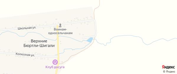 Кооперативная улица на карте деревни Верхние Бюртли-Шигали с номерами домов