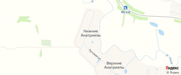 Карта деревни Нижние Анатриялы в Чувашии с улицами и номерами домов