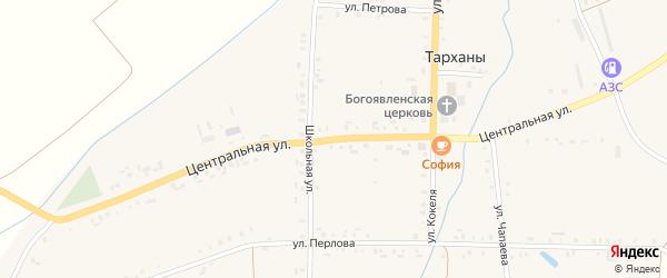 Центральная улица на карте села Тарханы с номерами домов