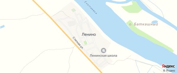 Карта села Ленино в Астраханской области с улицами и номерами домов
