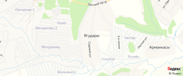 Карта деревни Ягударов в Чувашии с улицами и номерами домов