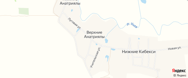 Карта деревни Верхние Анатриялы в Чувашии с улицами и номерами домов