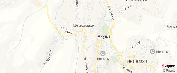 Карта села Акуши в Дагестане с улицами и номерами домов