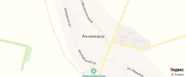 Запрудная улица на карте деревни Анчиккас с номерами домов