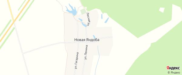 Карта деревни Новой Яндобы в Чувашии с улицами и номерами домов