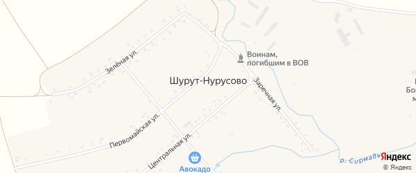 Зеленая улица на карте деревни Шурут-Нурусово с номерами домов