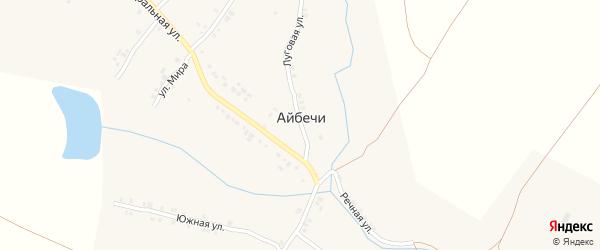 Школьный переулок на карте деревни Айбечи с номерами домов