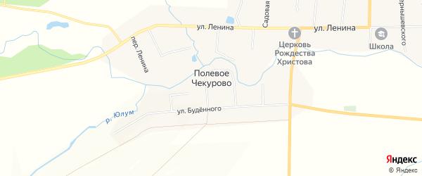 Карта деревни Полевое Чекурово в Чувашии с улицами и номерами домов