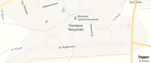 Нижняя улица на карте деревни Полевое Чекурово с номерами домов