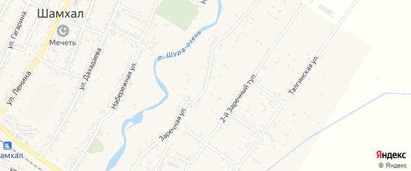 Заречная улица на карте поселка Шамхала с номерами домов
