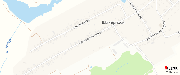 Кооперативная улица на карте деревни Шинерпосей с номерами домов