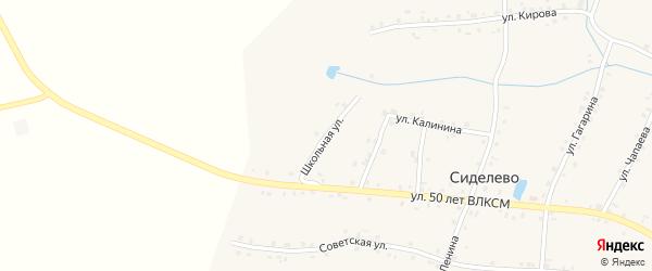 Школьная улица на карте деревни Сиделево с номерами домов