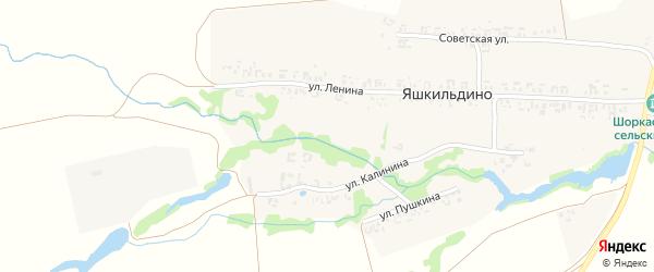 Улица Пушкина на карте деревни Яшкильдино с номерами домов