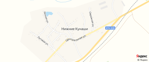 Приовражная улица на карте деревни Нижние Кунаши с номерами домов