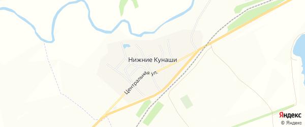 Карта деревни Нижние Кунаши в Чувашии с улицами и номерами домов