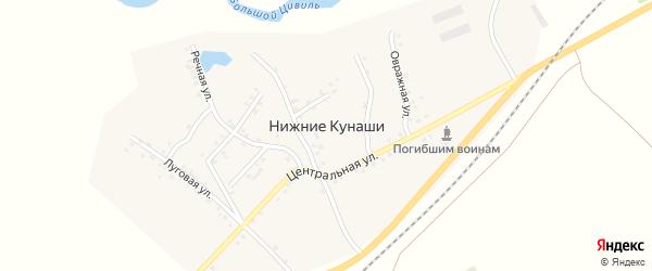Центральная улица на карте деревни Нижние Кунаши с номерами домов
