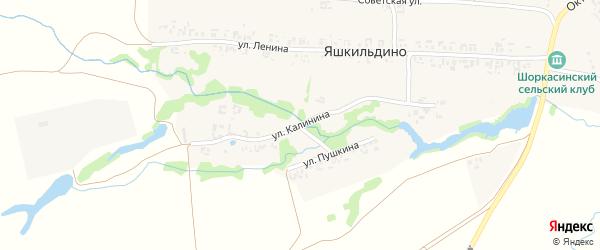 Улица Калинина на карте деревни Яшкильдино с номерами домов