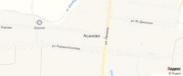 Улица Муссы Джалиля на карте деревни Асаново с номерами домов
