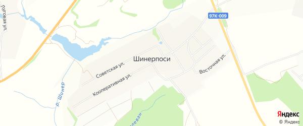 СТ Радуга на карте деревни Шинерпосей с номерами домов
