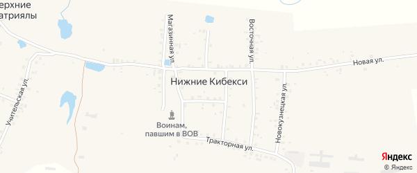Школьный переулок на карте деревни Нижние Кибекси с номерами домов