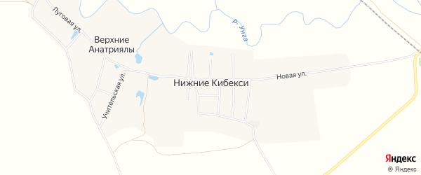 Карта деревни Нижние Кибекси в Чувашии с улицами и номерами домов